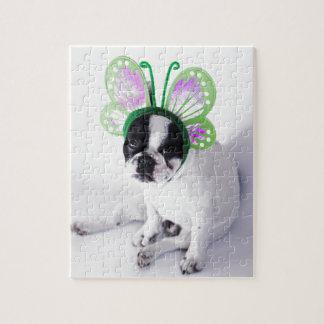 Puzzle Mariposa blanco y negro del francés del perro