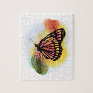 Puzzle Mariposa en la acuarela de la puesta del sol
