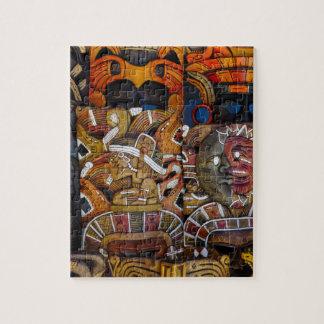 Puzzle Máscaras de madera mayas en México