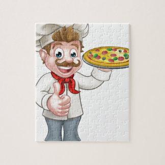 Puzzle Mascota del carácter del cocinero de la pizza del