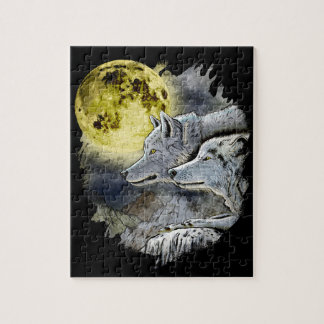 Puzzle Montaña de la luna del lobo de la fantasía