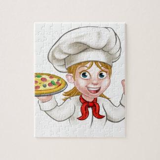 Puzzle Mujer y pizza del cocinero del dibujo animado