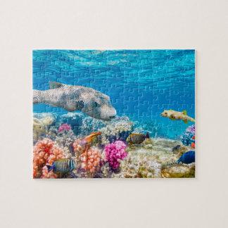 Puzzle mundo subacuático hermoso de los pescados, cur de
