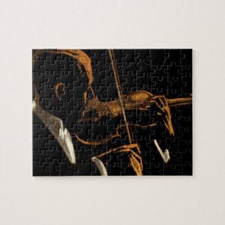 Puzzle Músico del vintage, violinista que juega música