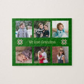 Puzzle Navidad de encargo del marco del verde del texto