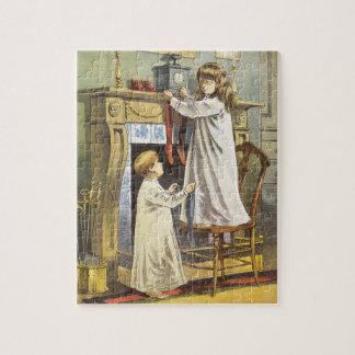 Puzzle Navidad del Victorian, medias del navidad de los