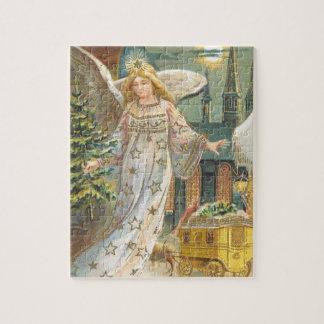 Puzzle Navidad del vintage, ángel del Victorian con el