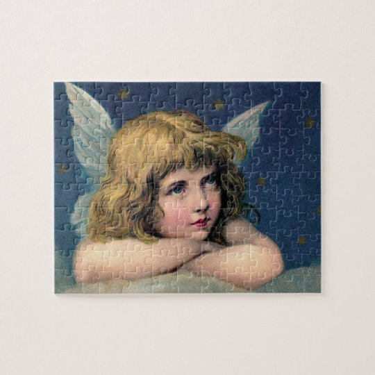 Puzzle Navidad del vintage, ángel hermoso con las
