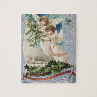 Puzzle Navidad del vintage, ángeles del Victorian en un