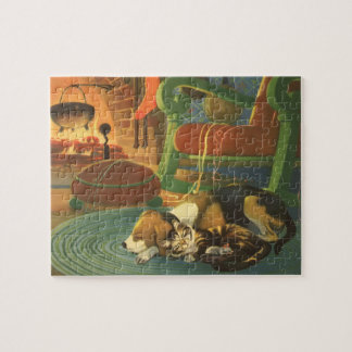 Puzzle Navidad del vintage, animales el dormir por la