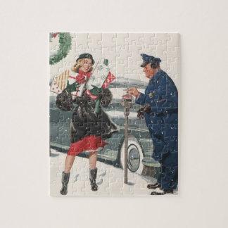 Puzzle Navidad del vintage, policía de los presentes que