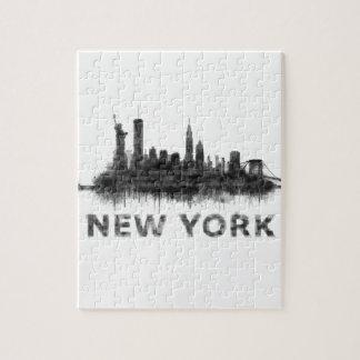 Puzzle New York Dark-White Skyline v07