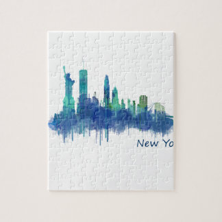 Puzzle New York Skyline Watercolor blue v05