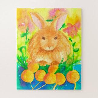Puzzle Niños de las flores de las zanahorias del conejo