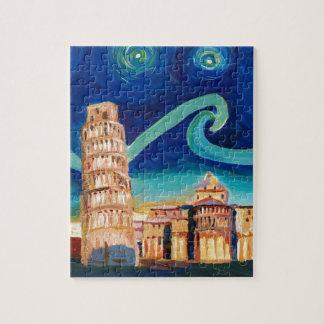 Puzzle Noche estrellada en Pisa con la torre inclinada