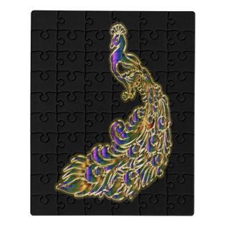 Puzzle Oro y pavo real púrpura que brillan tenuemente