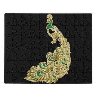 Puzzle Oro y pavo real verde que brillan tenuemente