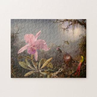 Puzzle Orquídea de Cattleya y tres colibríes