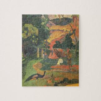 Puzzle Paisaje con los pavos reales de Paul Gauguin