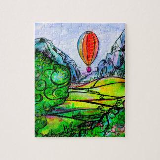 Puzzle Paisaje hermoso de la montaña con un globo grande