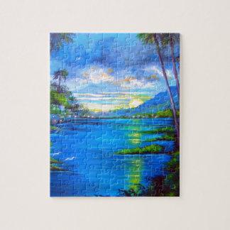 Puzzle Palmas tropicales azules