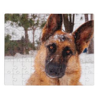 Puzzle Pastor alemán magnífico en el invierno