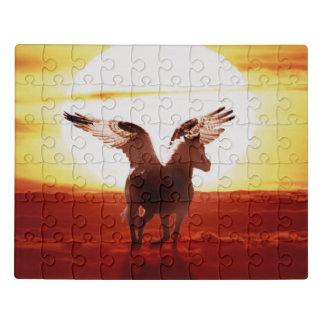 Puzzle Pegaso en la salida del sol