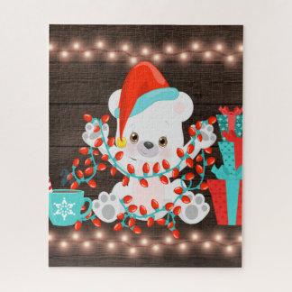 Puzzle Pequeño oso polar lindo con las luces de navidad