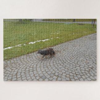 Puzzle Perro lindo que toma un paseo