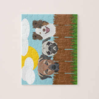 Puzzle Perros afortunados del ilustracion en una cerca de