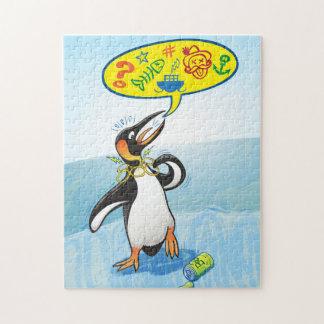 Puzzle Pingüino de rey desesperado que dice malas