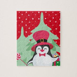 Puzzle Pingüino festivo con el trineo