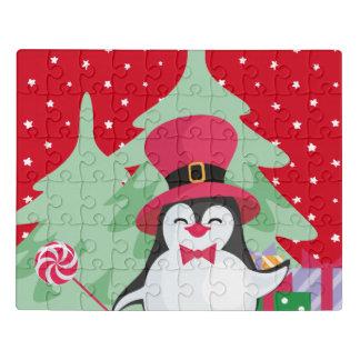 Puzzle Pingüino festivo con el trineo - rojo