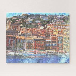 Puzzle Pintura colorida de la acuarela de la costa de