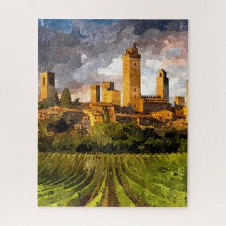Puzzle Pintura colorida de la acuarela del castillo de