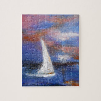 Puzzle Pintura del paisaje marino de la vela del puerto