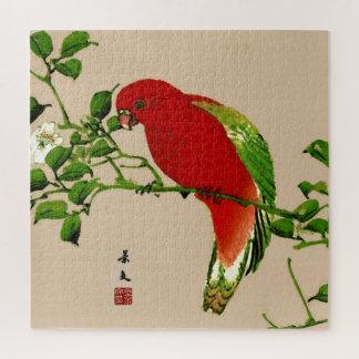 Puzzle Pintura japonesa del vintage de un loro, de un
