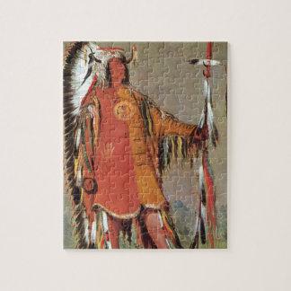 Puzzle Portait del jefe indio Mato-Tope de George Catlin