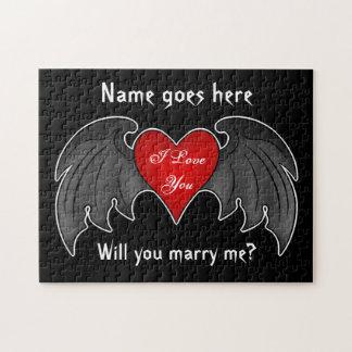 Puzzle Propuesta de matrimonio coa alas rojo oscuro