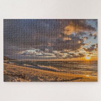 Puzzle Puesta del sol de la playa en el lago Michigan