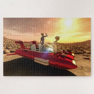 Puzzle Puesta del sol retra de la ciencia ficción en