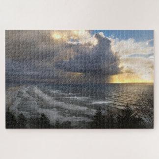 Puzzle Puesta del sol tempestuosa, costa de Oregon