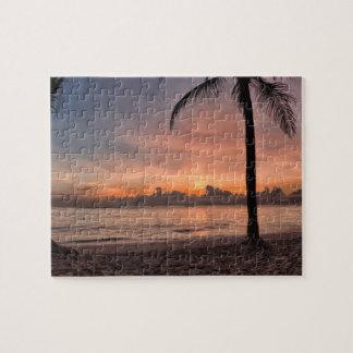 Puzzle Puesta del sol tropical hermosa de las palmeras