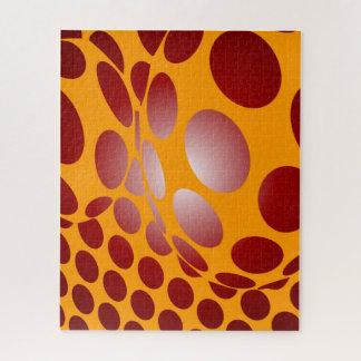 Puzzle Puntos deformados en oro y rojo