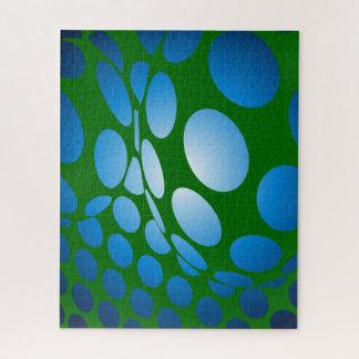 Puzzle Puntos verdes y azules deformados
