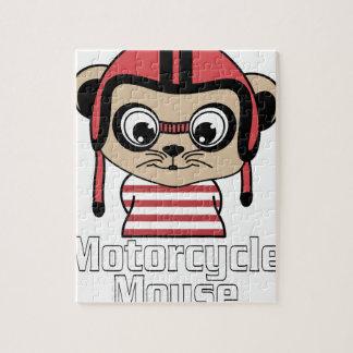 Puzzle Ratón de la motocicleta, diseño del vintage del