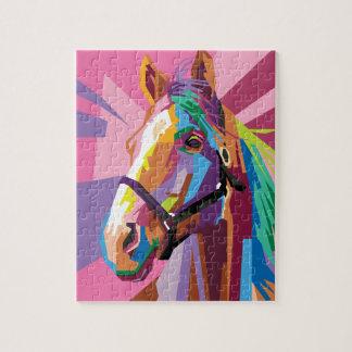Puzzle Retrato colorido del caballo del arte pop