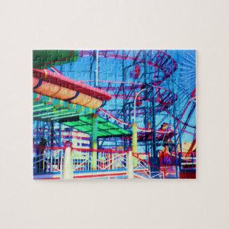 Puzzle Roller coaster coloreado caramelo del vintage