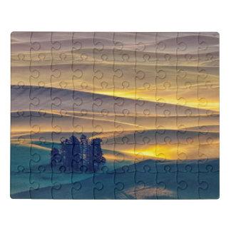 Puzzle Rolling Hills del trigo en la salida del sol el |