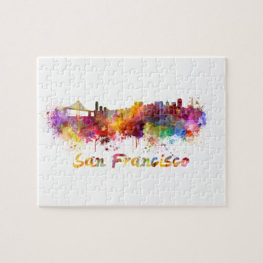 Puzzle San Francisco skyline in watercolor background